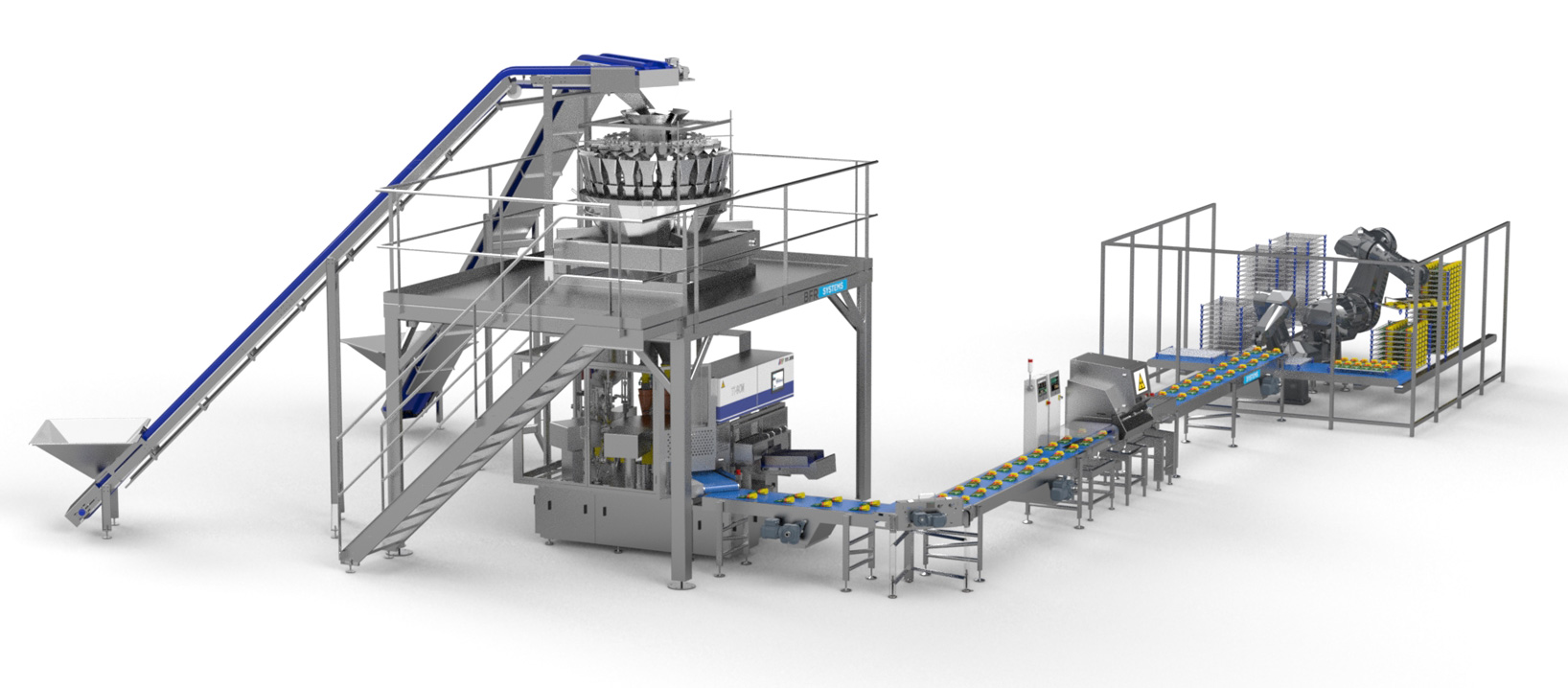 Pet Food/PACKING LINE FOR PRE-MADE POUCHES  WITH ROBOTIC RACK